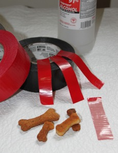 4 duct tape strips ready for taping